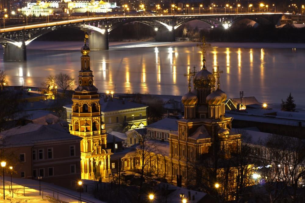 Нижний Новгород в вечерних огнях